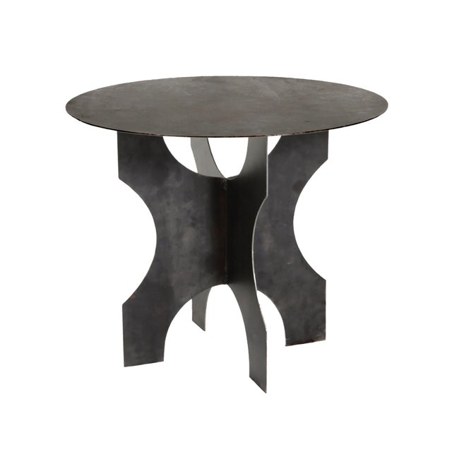 Black Modern Steel Round Table For Sale - Image 8 of 8