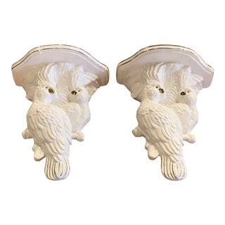 Vintage Palm Beach Tropical White Ceramic Cockatoo Parrots Wall Sconces - a Pair For Sale