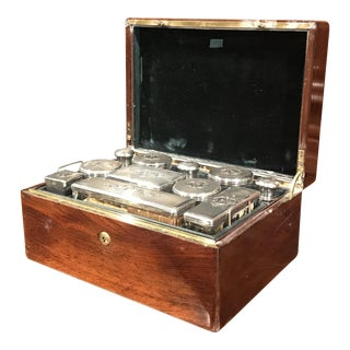 19th Century French Rosewood Travel Vanity Case With Glass Silver Bottles Dated For Sale
