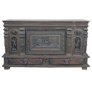 Italian Carved Renaissance Sideboard For Sale
