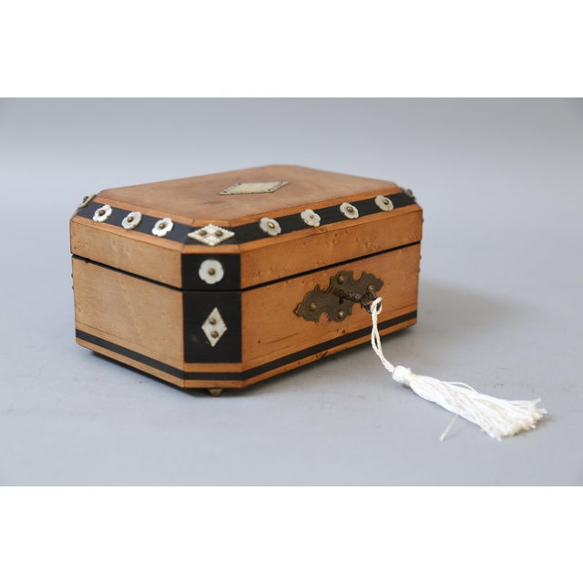 French Satin Wood & Mother of Pearl Box, Lock & Key For Sale - Image 5 of 8
