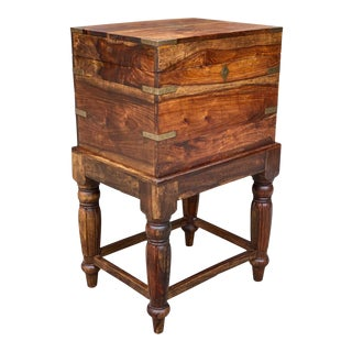 Vintage Traditional Walnut Occasional Table Cabinet Chest W/ Brass Strapping For Sale