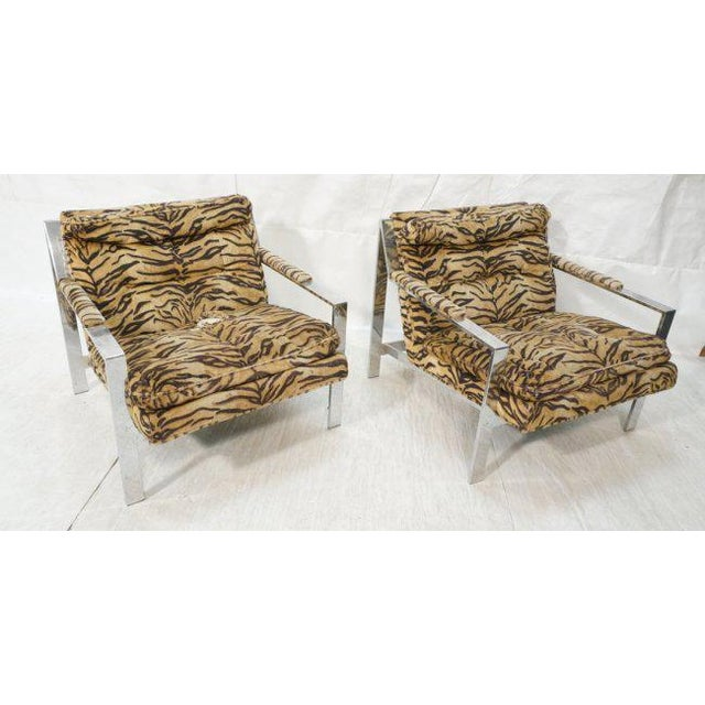 Chrome Cy Mann Lounge Chairs in the Style of Milo Baughman, Set of Two For Sale - Image 7 of 7