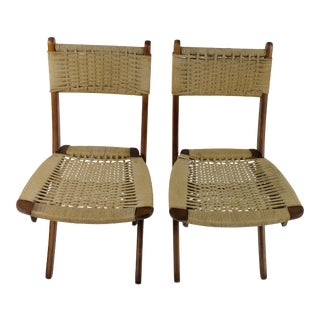 1970s Hans Wegner Style Folding Chairs - a Pair For Sale