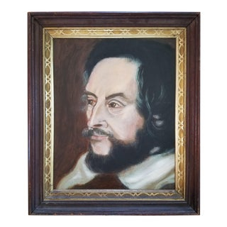 1970s Baroque Style Shakespeare Portrait Acrylic Painting on Board For Sale
