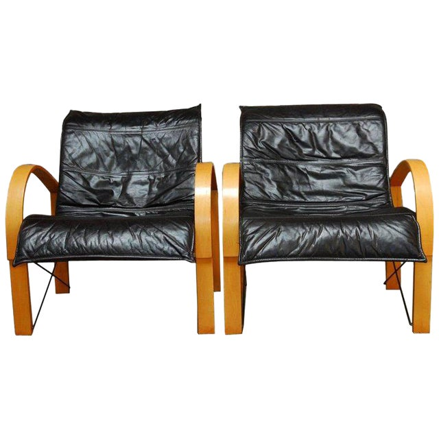 Mid-Century Danish Bentwood & Leather Armchairs - A Pair For Sale