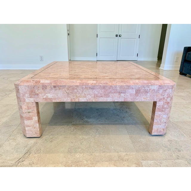 1980s Maitland Smith Hollywood Regency Pink Tessellated Stone Coffee Table For Sale - Image 5 of 7