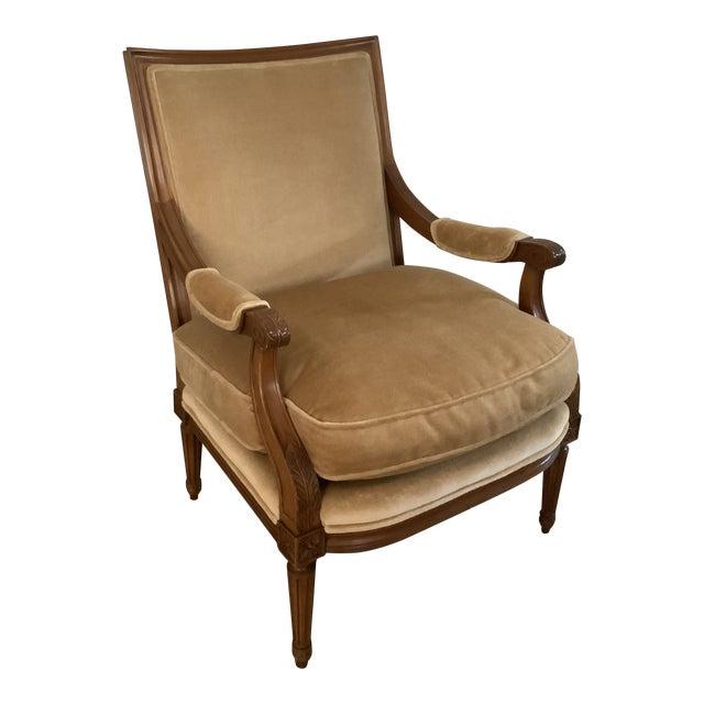 Baker Gold Mohair Accent Bergere Chair For Sale