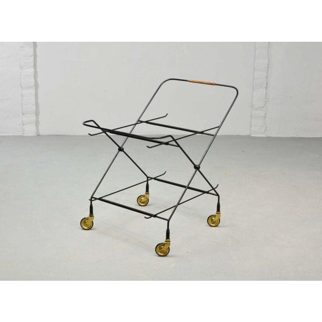 Mid-Century Design Teak and Steel Tea Trolley on Brass wheels by Paul Nagel, Germany 1950s For Sale - Image 4 of 13