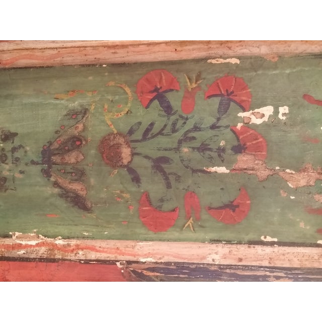 Antique Primitive Painted Red Headboard - Image 5 of 10