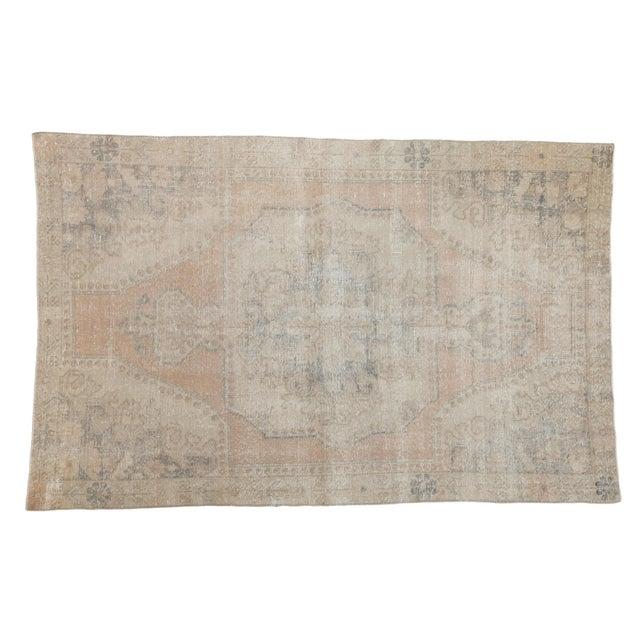 "Vintage Distressed Oushak Rug - 4'4"" X 6'9"" For Sale - Image 10 of 10"