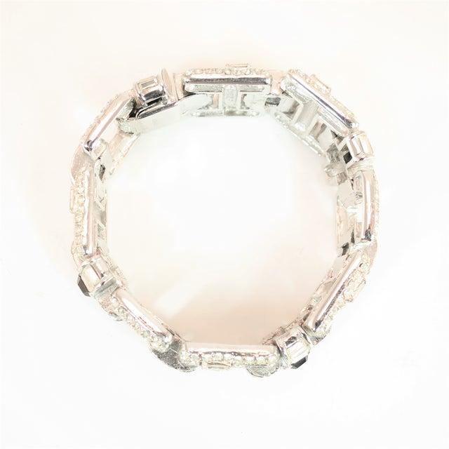 Black Ciner Art Deco-Style Geometric Link Rhodium Bracelet 1950s For Sale - Image 8 of 13
