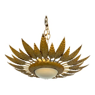 Spanish Gilt Metal Crown Ceiling Fixture With Opaline Globe For Sale