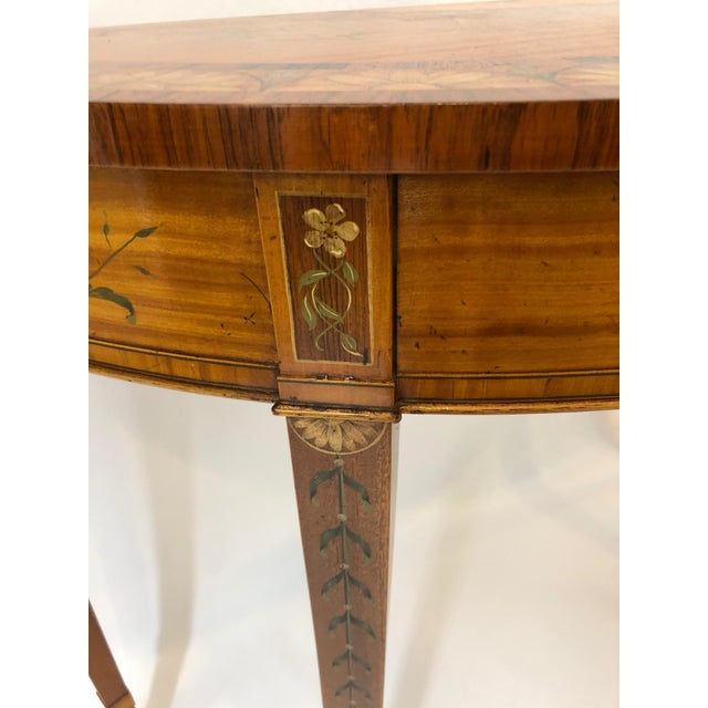 Brown 1970s Traditional Hand Painted Demilune Console Table For Sale - Image 8 of 13