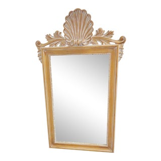 Italian Shell Carved Pine Pickled Mirror For Sale