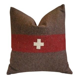 "22"" Swiss Appliqué Cross Wool & Linen Feather/Down Pillow For Sale"