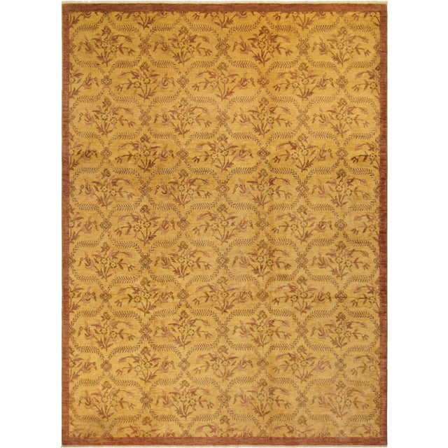 Kafkaz Peshawar Coralee Gold & Purple Wool Rug - 8'10 X 12'0 For Sale