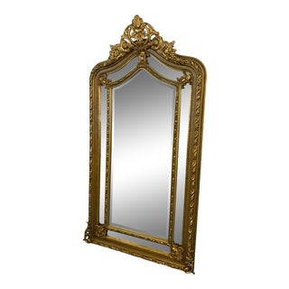1970s Gilt Beaux Arts Monumental Floor Mirror For Sale
