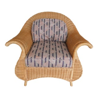 Lane Venture Fan Back Wicker Club Chair For Sale