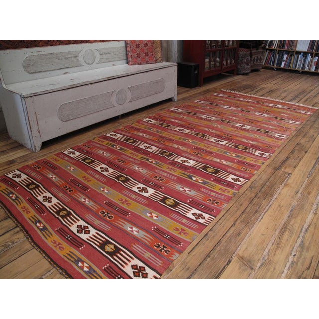 A great nomadic Kilim from the Taurus Mountains in Southern Turkey with brilliant colors. In excellent condition.