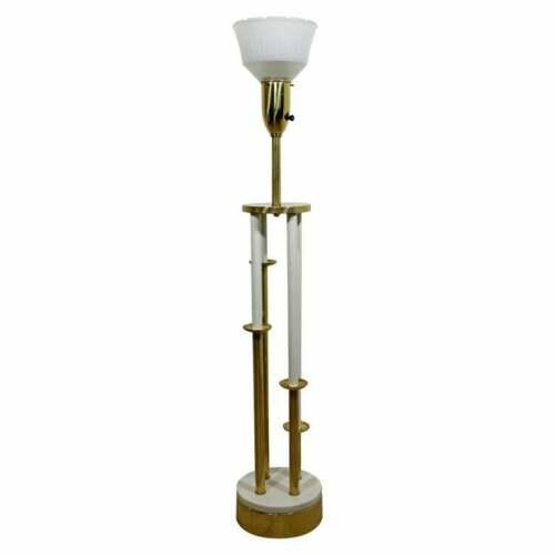 Brass Mid Century Modern Hollywood Regency Deco Brass Marble Floor Lamp Parzinger Attr For Sale - Image 8 of 8