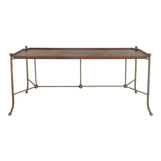 Burlwood and Brass Sofa/Console Table Attributed to Mastercraft