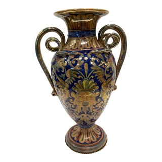 1920's Tall Handled Polychrome Glaze Vase With Floral Designs and Snake Handle For Sale