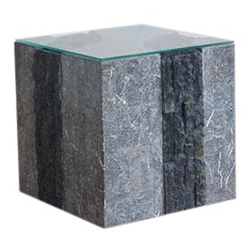 Maitland Smith Brutalist Tessellated Stone Side Table For Sale