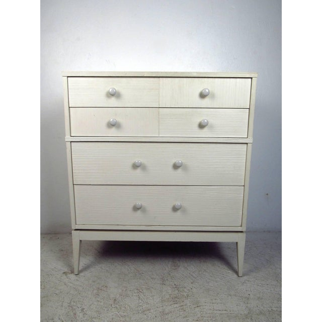 kroehler furniture white 4 drawer highboy dresser chairish. Black Bedroom Furniture Sets. Home Design Ideas