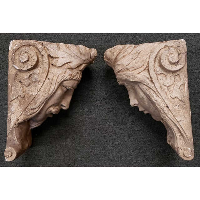 Late 19th Century Italian Classical Concrete Style Plaster Moor Head Wall Corbels - a Pair For Sale - Image 4 of 6