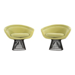 Set of Mid-Century Modern Bronze Platner Lounge Chairs for Knoll For Sale