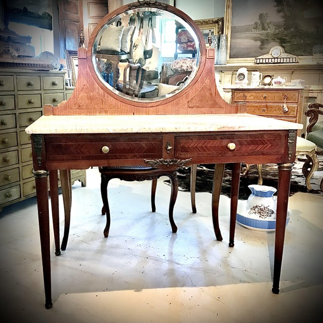 Early 20th Century French Louis XVI Style Marble Top Dressing Table or Vanity For Sale - Image 12 of 12