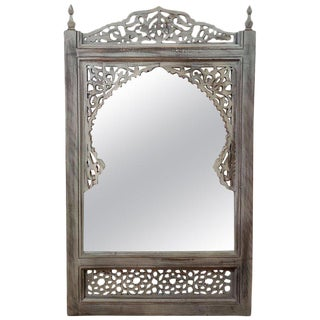Moroccan Hand Carved White Wooden Mirror For Sale