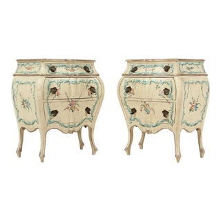 Italian Vintage Hand Painted Nightstands-a Pair For Sale
