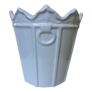 Portuguese White on White Ceramic Cachepot/ Planter For Sale