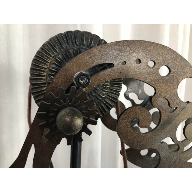 Fabric 1990s Gothic Gear & Iron Pulley Floor Lamp For Sale - Image 7 of 9