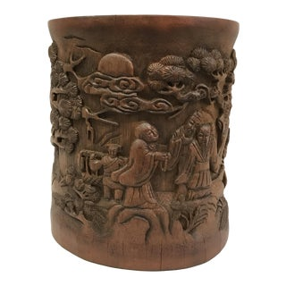 Chinese Carved Bamboo Brushpot Mountain Scenery For Sale