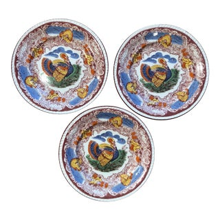 Set of 3 Italian Majolica Turkey Plates For Sale
