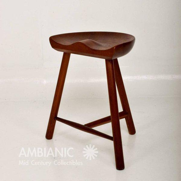 Mid-Century Danish Modern Solid Teak Stool For Sale In San Diego - Image 6 of 10