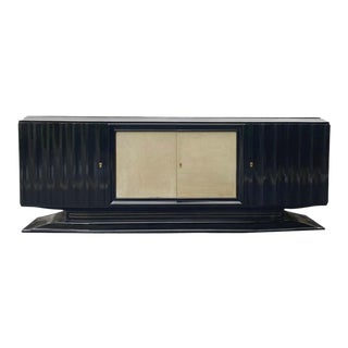 Mid-Century Modern Hollywood Regency Art Deco Black Lacquered Sideboard, French For Sale