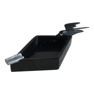 Vintage Hand Carved Black Raven Ashtray