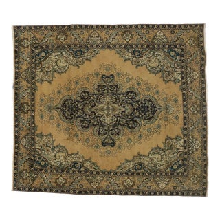 Vintage Persian Tabriz Area Rug With Neoclassical Hollywood Regency - 09'10 X 11'02 For Sale