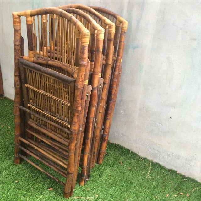 Bamboo Folding Chairs - Set of 4 - Image 11 of 11