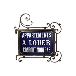 Antique Paris Apartment Building Street Sign