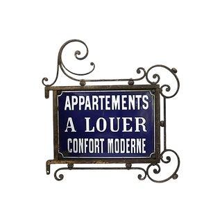 Antique Paris Apartment Building Street Sign For Sale