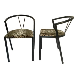 Mid Century Bks Denmark Black Metal Sides Chairs- A Pair For Sale