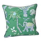 Image of Thibaut Goa in Green Designer Pillow Cover With Marine Blue Linen Piping For Sale