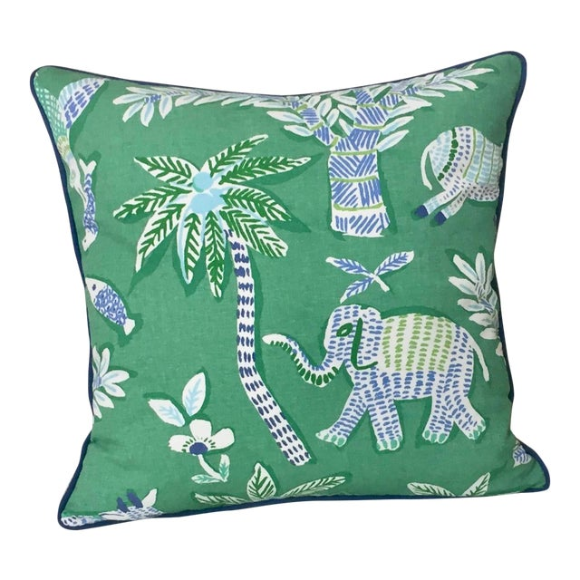 Thibaut Goa in Green Designer Pillow Cover With Marine Blue Linen Piping For Sale
