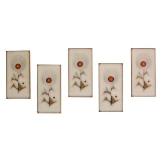 Vintage Mid-Century Italian Glazed Floral Tiles - Set of 5 For Sale