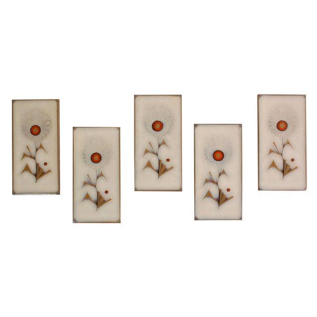 Vintage Mid-Century Italian Glazed Floral Tiles - Set of 5 For Sale